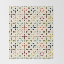 Vintage Daisy Pattern, Mid Century Modern Throw Blanket
