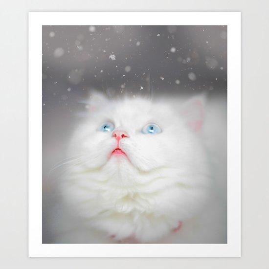 Kitten's First Snow Art Print