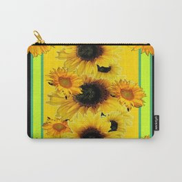 Black Sunflowers Pattern  Lime Color Floral Art Carry-All Pouch