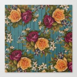 Vintage green wood coral burgundy roses floral Canvas Print