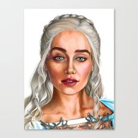 targaryen Canvas Prints featuring Daenerys Targaryen by IrynaKhymychArt