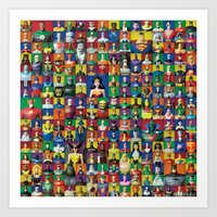 justice league Art Prints featuring Action Figure Grid: Justice League Unlimited by CantinaDanny
