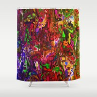 tim burton Shower Curtains featuring Substances by Tim Henderson by WhatisArt
