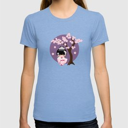 Japanese Bride Kokeshi Doll on Purple T-shirt