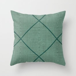Stitched Diamond Geo Grid in Green Throw Pillow