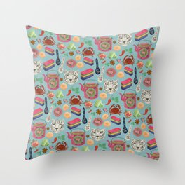 Peranakan tea party Throw Pillow