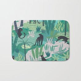 Panthers In Jungle Pattern Bath Mat