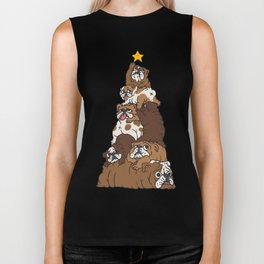 Christmas Tree English Bulldog Biker Tank