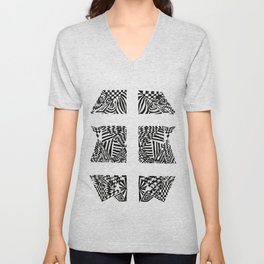 Double Dagger, Black/White Abstract (ink drawing) Unisex V-Neck