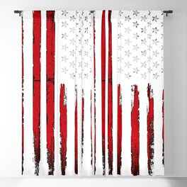 Red Vintage American Flag Blackout Curtain