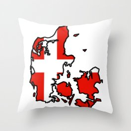 Denmark Map with Danish Flag Throw Pillow