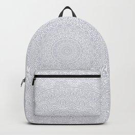 The Most Detailed Intricate Mandala (Light Gray) Maze Zentangle Popular Trending Pattern Design Backpack