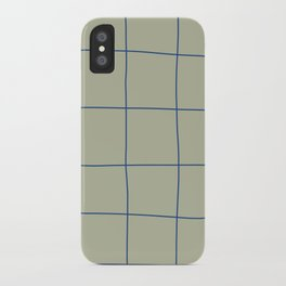 Simple Grid Green Blue iPhone Case