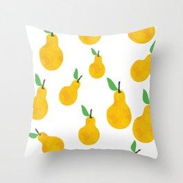 pear yellow Throw Pillow