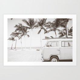Retro Camper Van With Surf Board Black & White Art Print