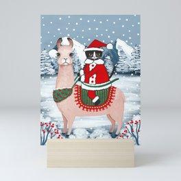 Santa Claws Cat and Llama Mini Art Print