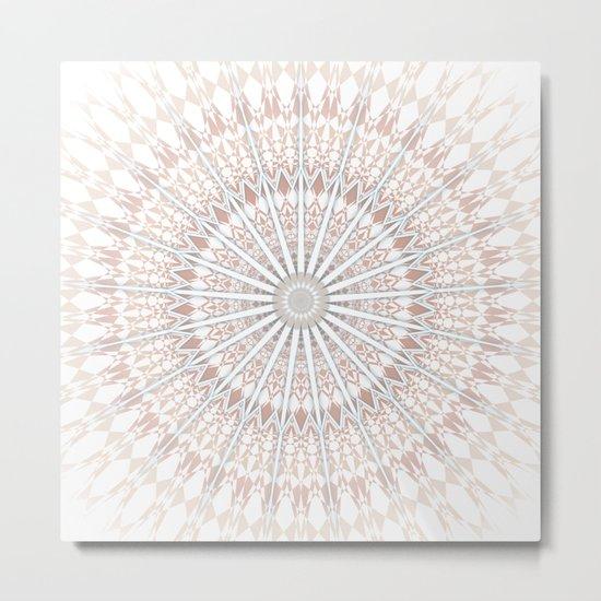 Beige White Mandala Metal Print