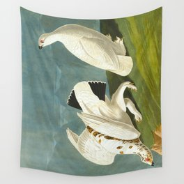 American Ptarmigan and White Vintage Scientific Bird Illustration Wall Tapestry