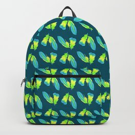 Moody Green Tropical Feather Repeat Surface Pattern Design Backpack
