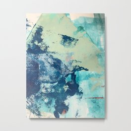 Letting Go: an abstract mixed-media piece in blues and greens by Alyssa Hamilton Art Metal Print