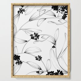 Black and white flora Serving Tray