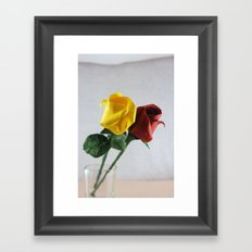 Origami Yellow and Red Roses Framed Art Print