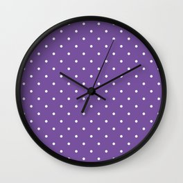Small White Polka Dots with Purple Background Wall Clock