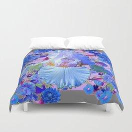 PASTEL IRIS & BLUE  FLOWERS  GREY PATTERNS ART Duvet Cover