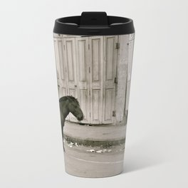 I dream that I saw a horse alone on the streets of India Metal Travel Mug