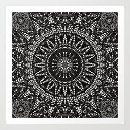Ebony Lace Mandala Pattern Art Print