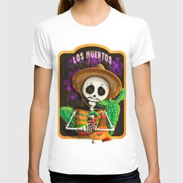 Mexican skull with pet chicken in his arms T-shirt