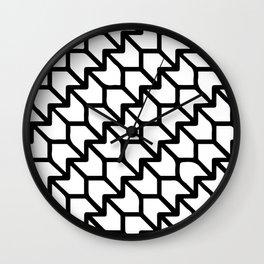 Lotus Flower Pattern White and Black  Wall Clock