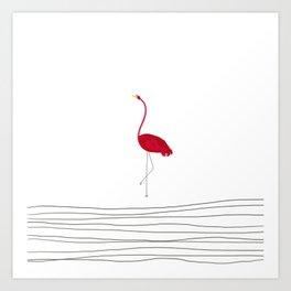 Flamingo Flying Solo Art Print