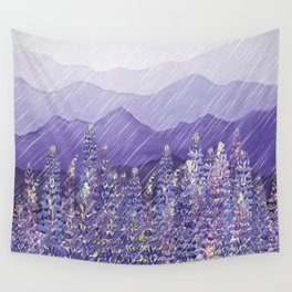 Purple Mountain Rain Wall Tapestry