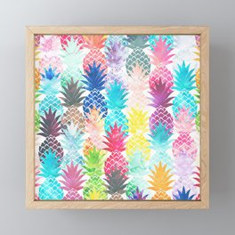 Hawaiian Pineapple Pattern Tropical Watercolor Framed Mini Art Print