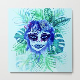 Woman with Tropic leaves Metal Print
