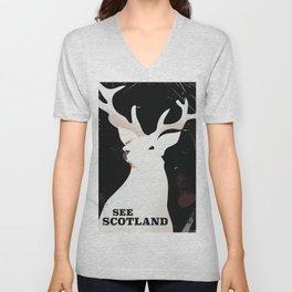 See Scotland vintage style travel poster Unisex V-Neck