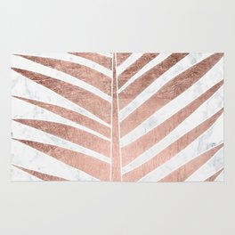 Modern faux rose gold tropical palm tree leaf white marble Rug