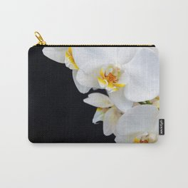 White Orchid on a black background Carry-All Pouch