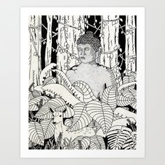 The Deer and Buddha Art Print