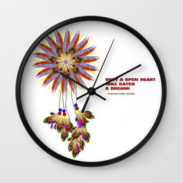 Autumn dream catcher with indian proverb Wall Clock