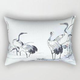 Antique Japanese Woodblock Print Art By Kono Bairei - Five Cranes Standing In The Swamp Water  Rectangular Pillow