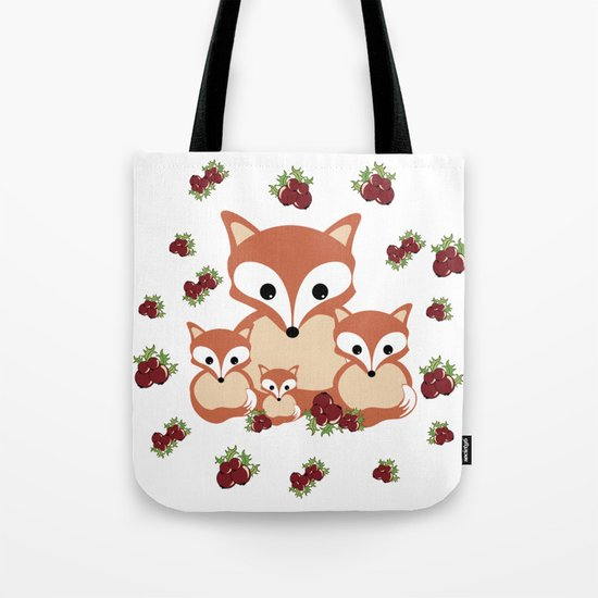 Family of foxes in winter Tote Bag