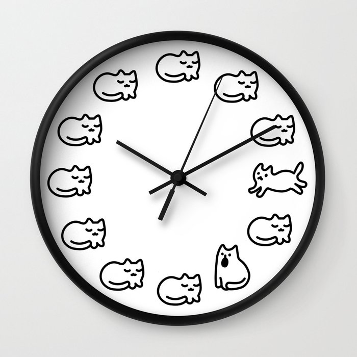 Cat Day Cycle Wall Clock
