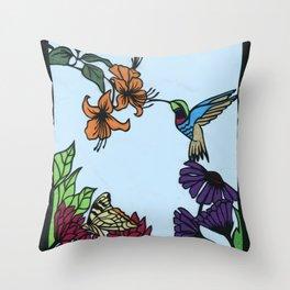 Hummingbird Garden Paper-cut  Throw Pillow