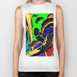 Blue Green Orange Black and Gold, Stand Up Red Biker Tank