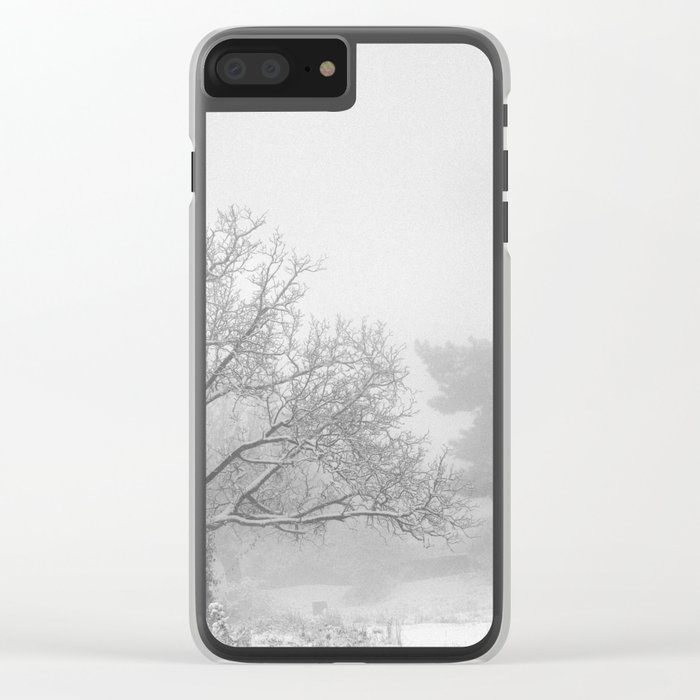 """""""Into the snowy forest"""". Foggy mountains Clear iPhone Case"""