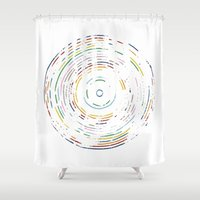 record Shower Curtains featuring Rainbow Record by Project M