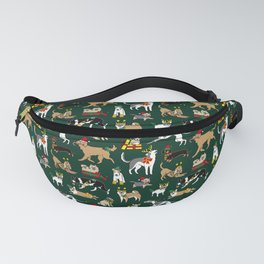 Christmas Dogs Green Fanny Pack