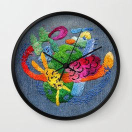 abstract embroidery Wall Clock